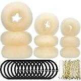 9 Stück Donut Haar Brötchen Hersteller Former Schaum Schwamm Donut Brötchen Ring Stil Set mit 12 Stück Haar Gummibänder Krawatten und 32 Stück Haar Bobby Pins für Frauen Mädchen (Beige)