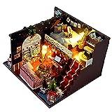 LZZB DIY Weihnachten Puppenhaus Miniatur Kit Mit Staubdicht Puppenhaus Led Lichter Möbel Holz Puzzle Modell Dekoration DIY Hand Handwerk Kinder Jungen Mädchen Geburtstag Heiligabend Geschenk