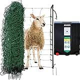 Agrarzone Schafzaun Komplett-Set N3500 230V, 5,5J, Netz 50m x 90cm grün | Stabiles Schafnetz Starter-Set mit Weidezaungerät | Optimale Hütesicherheit für Schafe Ziegen | Weidezaun Elektrozaun