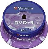 Verbatim DVD+R - 4.7 GB, 16-Brenngeschwindigkeit mit langer Lebensdauer und Kratzschutz, 25 Stück Spindel, mattsilb