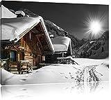 wunderschöne verschneite Alpenhütten schwarz/weiß Format: 120x80 auf Leinwand, XXL riesige Bilder fertig gerahmt mit Keilrahmen, Kunstdruck auf Wandbild mit Rahmen, günstiger als Gemälde oder Ölbild, kein Poster oder Plakat