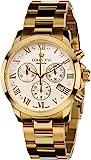 LOUIS XVI Damen-Armbanduhr Athos Pour Femme Stahlband Gold Weiss echte Diamanten Chronograph Analog Quarz Edelstahl 515