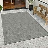 Paco Home In- & Outdoor Teppich Küchenteppich Einfarbiges Design Sisal Optik Modern Grau, Grösse:80x150 cm
