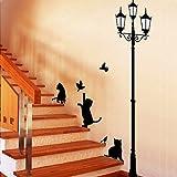 Fuloon Schwarze Katzen und Straße Licht Wandtattoo Wandaufkleber Wandsticker für Wohnzimmer S