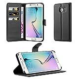 Cadorabo Hülle für Samsung Galaxy S6 Edge Plus in Phantom SCHWARZ - Handyhülle mit Magnetverschluss, Standfunktion und Kartenfach - Case Cover Schutzhülle Etui Tasche Book Klapp Style