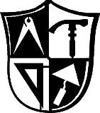 MAURER Zunftzeichen in WAPPENFORM H= 40cm-90cm aus STAHL stark wie das Handwerk der Maurer (40cm, Schwarz)