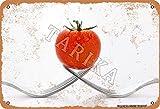 Tomaten- und Gabel, Eisen, 20,3 x 30,5 cm, Vintage-Look, Dekoration für Zuhause, Küche, Badezimmer, Bauernhof, Garten, Garage, inspirierende Z