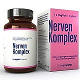 NERVEN KOMPLEX Kapseln | Durchdachte hochdosierte Vitamin B Komplex Rezeptur mit Pflanzen-Extrakten und Magnesium | 100% vegane Kapseln in Apothekerqualität | Gegen Stress und für erholsamen S