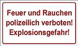 Schild: Feuer und Rauchen polizeilich verboten ! - 594x420mm einseitiger Druck   Aluverbundschild