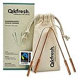 Qikfresh – 2x Zungenreiniger aus 100% Kupfer, inkl. Fairtrade-Baumwollbeutel | Antibakterielle Zungenschaber, stabile Griffe - Zero Waste Verpackung - NEU