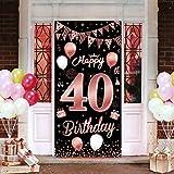 40. Geburtstagsfeier Dekorationen Banner Hintergrund, Roségold Dekoration für schöne Frauen der 40. Geburtstagsfeier, 185 × 90 cm (72.8 × 35.4 Zoll), wesentliche Dekoration für 40. Geburtstagsfeier