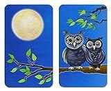 WENKO Herdabdeckplatte Universal Eule, 2er Set Herdabdeckung für alle Herdarten, Gehärtetes Glas, 30 x 52 cm, mehrfarbig