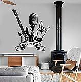 Rock N Roll Wandtattoo Musik Rock Gitarre Mikrofon Bar Musikzimmer Innendekoration Vinyl Wandaufkleber Wandbild Kunst Cool 42X46 Cm