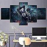 5 Stück The Witcher 3 Wilde Jagd Spiel Poster Kunstwerk Gemälde Leinwand Kunst für Wohnzimmer Wand Decor-40x60 40x80 40x100 cm Kein Rahmen