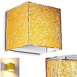 LED Wandlampe Olbia in Goldfarben - Moderner Wandstrahler aus Metall mit integrierten LED-Lampen - Wandspot LED mit 350 Lumen und 3000