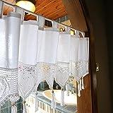 Yiming Scheibengardine Bistrogardine, Küchen Gardinen, Land-Stil Handmade Natural Cotton Crochet Kurze Vorhänge, Weiße Hohle Spitze Quaste Home Decoration Vorhang mit Rod Pocket, 1 Stück