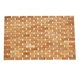 JuneJour Bambusmatte Badematte Saunamatte aus Bambus Badezimmer Holz Badvorleger für Dusch Bad Spa Balkon 70x50cm