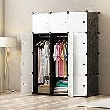 JOISCOPE Abstellschrank, Schlafzimmer Tragbare Schrank, Modularer Kunststoffschrank Mit Schiene, Weiß und Schwarz(12 Kubik)
