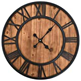 vidaXL Wanduhr Vintage Quarzwerk Holz Metall 60 cm XXL Analog Uhr Küchenuhr