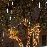 Lichterkette Meteorschauer LED Wasserdicht Weihnachtsbeleuchtung Partylichterkette Staubdicht für Party Weihnachten Dekoration Hochzeit Xmas Außen usw (Color : White Light, Size : 80cm 8 Tubes)