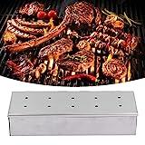 Barbecue Smoker Box, 10-Loch-Edelstahl-Grill-Holzhackschnitzel-Grillbox Außengrillwerkzeuge für Küchen zu Hause Picknicks Camping-Grillpartys