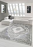 Designer und Moderner Teppich Kurzflor Teppich Orient in Grau Silber Beige Größe 80x150