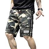 Herren Straight Shorts Stitching Camouflage Trend Loose Casual Streetwear Mode Große reguläre Shorts mit Kordelzug 4XL