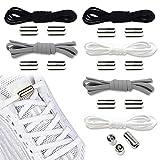 6 Paar Schleifenlose Schuhbänder Schnürsenkel mit Schnellverschluss,Elastische Schnürsenkel,Baumwolle Schnürsenkel-Set,Shoelaces Schuhband,Schnellschnürsystem -Verschluss