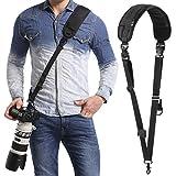 waka Kameragurt schnellverschluß Neopren Schwarz Kamera Tragegurt Verstellbarer Schultergurt Gurt Camera Strap für Canon Nikon Sony Fujifilm Olympus DSLR SLR