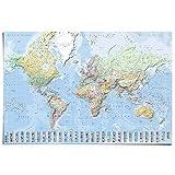 Poster Weltkarte Fahnen - Englisch - Papier 91.5 x 61 cm Blau Teenager Zimmer Trendy