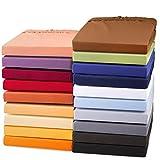 aqua-textil Exclusiv Spannbettlaken 200x220 - 220x240 cm dunkel grau Jersey Baumwolle 230g/qm Spannbetttuch Elastan Laken