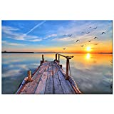 DIY 5D Diamant Painting Full Groß, Sonnenaufgang und Sonnenuntergang am Meer 5D Full Embroidery Paintings Rhinestone Pasted DIY Diamond Painting Cross Stitch for Home Wall Decoration 30 x 40 cm