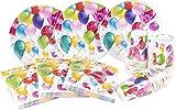 HEKU 30005-222 Einweg-Set mit Tellern, Bechern und Servietten, 120-teilig, Party Ballons
