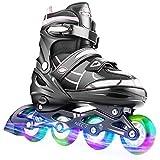 Hikole Vestellbare Inliner Größe 30-33 Inline Skates Kinder mit beleuchteten Rädern Rollschuhe für Jungen Mädchen Anfänger Damen Herren