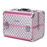 SONGMICS Kosmetikkoffer Schminkkoffer Schminkaufbewahrung Beauty Case Schminkkasten Multikoffer Etagenkoffer mit Diamant-Muster Silbernes Pink 36 x 28 x 23 cm JBC319P