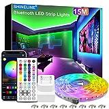 15M LED Strip, SHINELINE 1 Rolle Bluetooth App und Fernbedienung RGB LED Streifen, Musik Sync Farbwechsel LED Lichtband für Schlafzimmer, Wohnzimmer, Küche, Decke, Party, Haus Dekoration