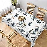 Dekorative Tischdecke, Tischwäsche, Boho-Stil, marineblau, Hirschkopf, Blumen, Tischdecke für Küche, Esszimmer