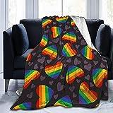 Kuscheldecke LGBT Stolz Homosexuell Regenbogen Herz Decke Mikrofaser Sofaüberwurf Superweich und Flauschig Fleecedecke Warm, Gemütlich, Langlebig für Bett und Sofa