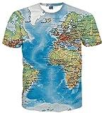 Sykooria Teenager T Shirt Jungen 3D Drucken Weltkarte Bunt Kurzarm Sommer Unisex Jugendliche T-Shirts Blau