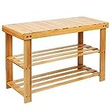 Wooden-Life Bambus Schuhschrank Sitzbank Schuhregal Schuhbank Badregal Bambusregal 3 Ablage- 70 x 45 x 28 cm (BxHxT)