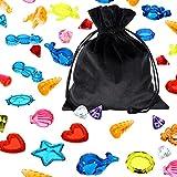 60 Stücke Tauchen Edelstein Schwimmbad Spielzeug, Bunte Sinkende Tauchen Edelstein Tauchen Kristall, Sommer Unterwasser Schwimmen Spielzeug Set mit Samt Kordelzug Tasche für Spiele