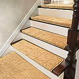 KANULAN Treppenauflage, selbstklebend, Jacquard, weich, dick, geräuschlos, Innendekoration, Treppenpolster, Farbe: Beige (65 x 24 cm), Größe: 5 Stück