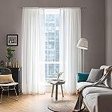 MIULEE 2er Set Voile Vorhang Transparente Gardine aus Voile Polyester Schlaufenschal Transparent Wohnzimmer Luftig Dekoschal für Schlafzimmer Lila 145 x 140cm (H x B), Rod Pocket Weiß