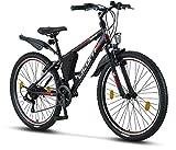 Licorne Bike Guide Premium Mountainbike in 26 Zoll - Fahrrad für Mädchen, Jungen, Herren und Damen - Shimano 21 Gang-Schaltung - Schwarz/Rot/G