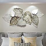 XLST Extravagante Wanddeko Industrial Design Metall Wandskulptur Handgefertigt Blätter Moderne Wandbild Wandrelief 143X60