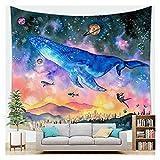 WFSH Tapestry Fantasy Whale Cartoon Meer Tier Tapisserie Wand Hanging Schlafzimmer Wohnzimmer Tapisserie Schlafsaal Wanddekoration Tapisserie (Color : D, Size : 130cm*150cm)