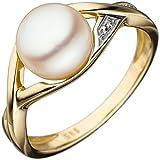JOBO Damen-Ring aus 585 Gold mit Perle und Diamant Größe 60