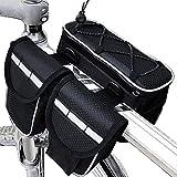 Greenf Fahrrad Rahmentasche Fahrradkoffer Tasche für Fahrrad Gepäckträger Satteltasche Umhängetasche Bike wasserdichte 4-in-1 Fahrradtasche Fahrradträgertasche(Schwarz)