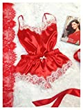 Home+ Damen Nachthemd, 2 Frauen Sexy Satin Spitze Pyjamas Unterwäsche Nachthemd Pyjamas Set (Color : Coral Red, Size : L)