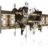 murando - Bilder Weltkarte 200x100 cm Vlies Leinwandbild 5 TLG Kunstdruck modern Wandbilder XXL Wanddekoration Design Wand Bild - World Map Landkarte Kontinente Abstrakt grau Gold k-A-0022-b-n